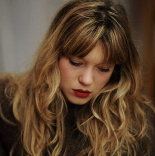 lea seydoux long hair with bangs