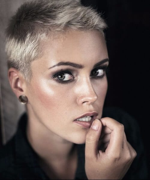 metallic short hair ombre