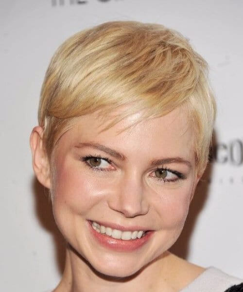 michelle williams side swept bangs