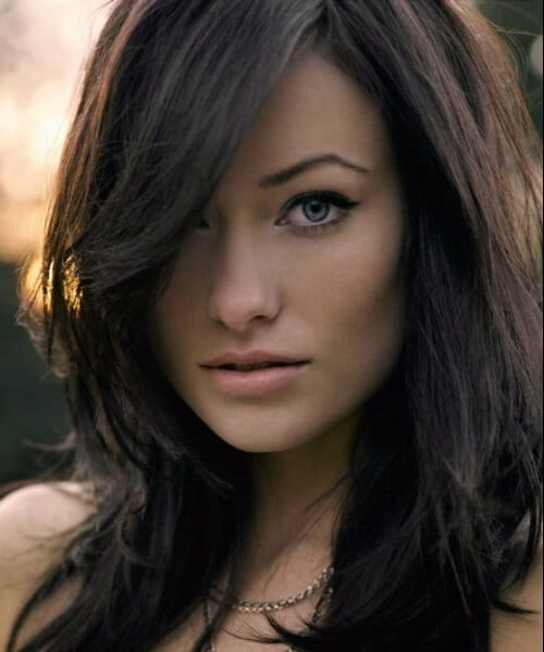 olivia wilde side swept bangs