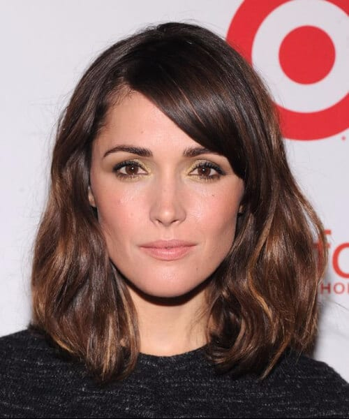 rose byrne side swept bangs