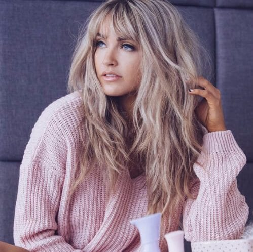 shaggy blonde long hair with bangs