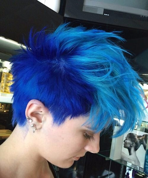sonic blue short hair ombre