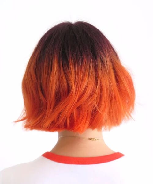 tangerine short hair ombre