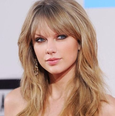 taylor swift long hair with bangs