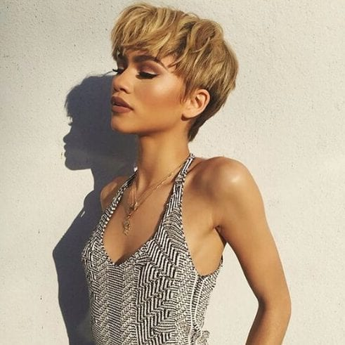 zendaya short hairstyles for thick hair