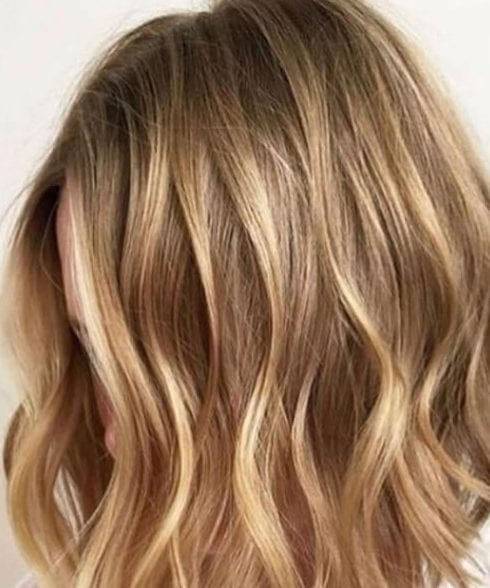 balayage short hair blonde Caramel, Honey, Copper Highlights