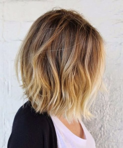 balayage short hair blonde golden