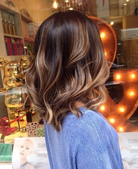balayage short hair soft brunette