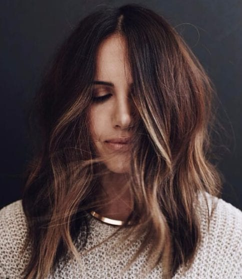 brunette honey balayage short hair