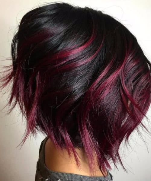 cherry red balayage short hair