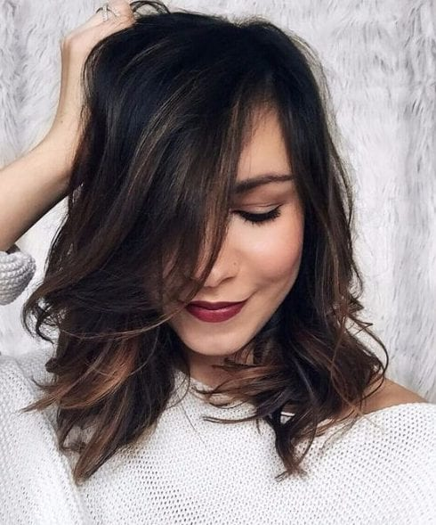 dark and copper balayage short hair