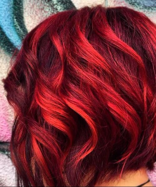 fiery red balayage short hair