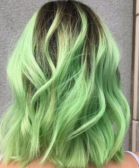 lime green balayage short hair