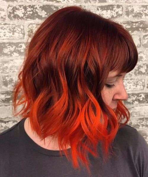 neon comic book red balayage short hair