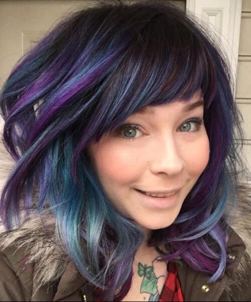 purple turquoise balayage short hair