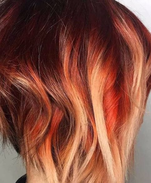 tequila sunrise balayage short hair
