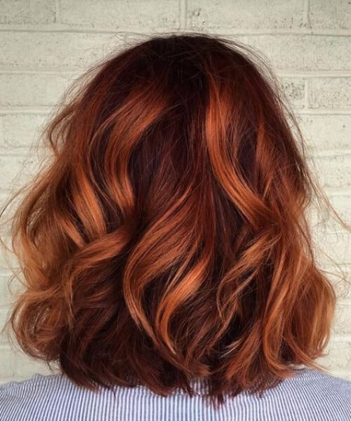 tiger red balayage short hair