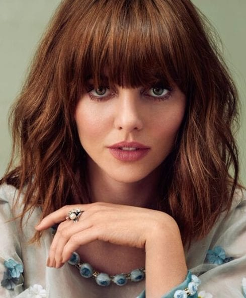 Ophelia Lovibond short hair with bangs