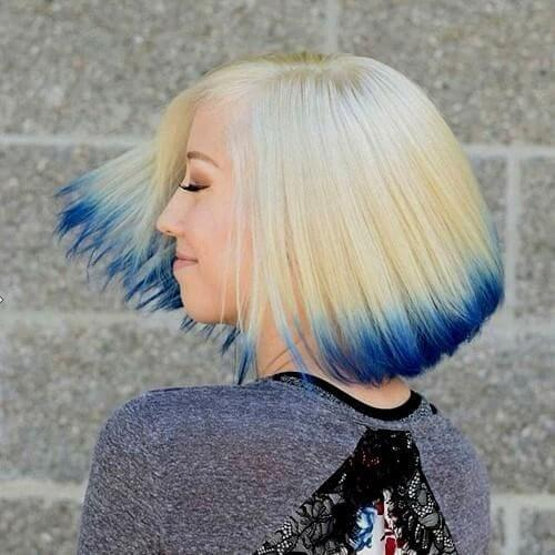 blonde dipped in ink inverted bob
