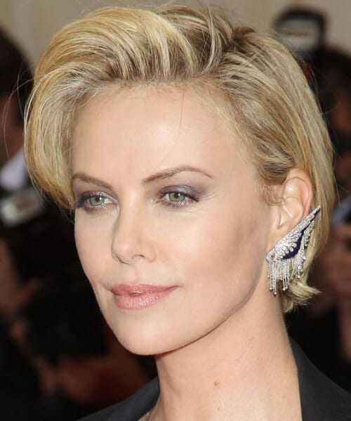 charlize theron short hair with bangs