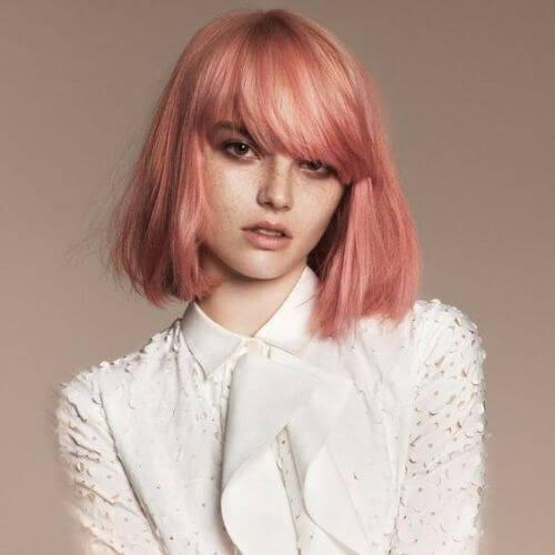copper pink inverted bob