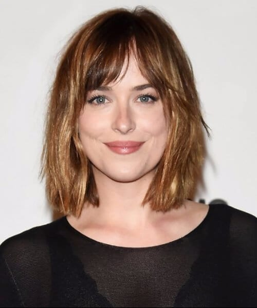 dakota johnson short hair with bangs