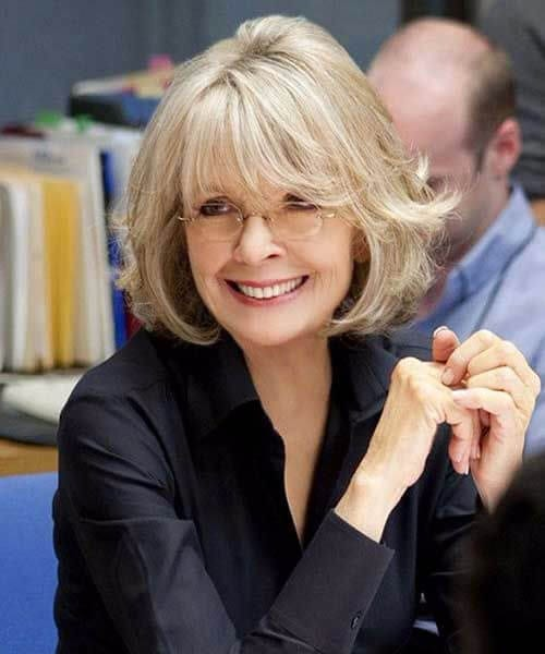 diane keaton short hair with bangs