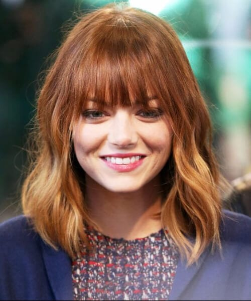emma stone short hair with bangs