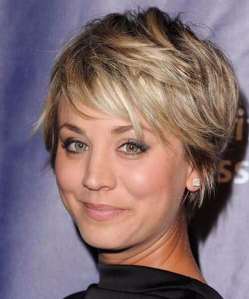 kaley cuoco short hair with bangs