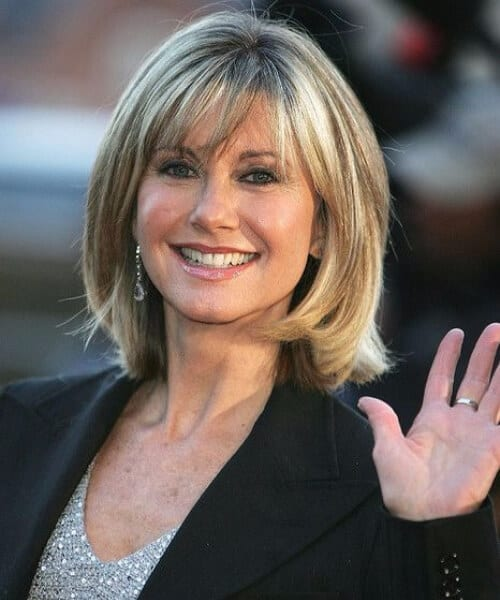 olivia newton john short hair with bangs