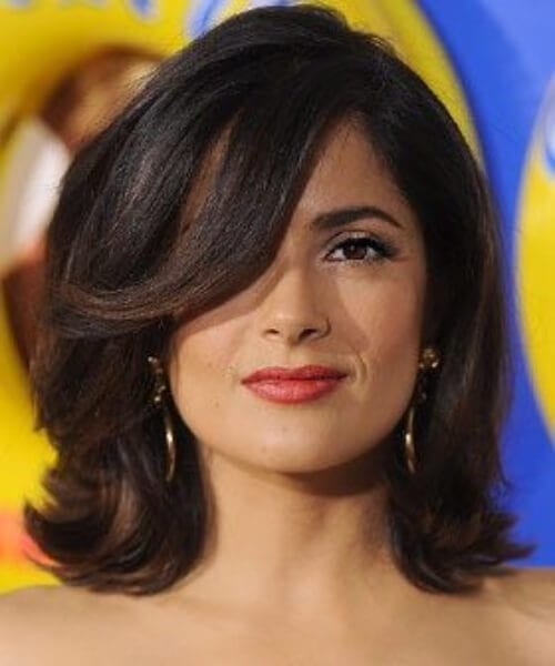 salma hayek short hair with bangs