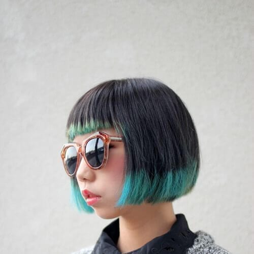 teal ombre inverted bob