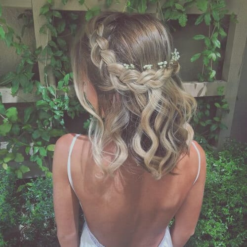 Braided crown with baby's breath flowers prom hairstyles for short hair
