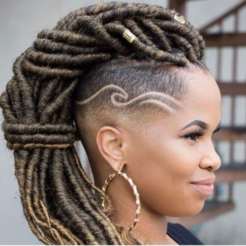Goddess Locs braided mohawk