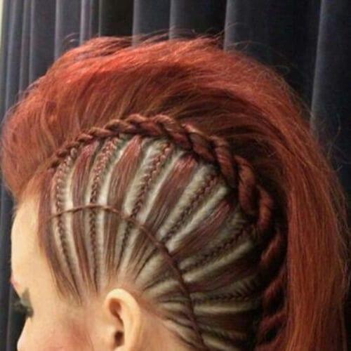 Rock 'n' Roll Red braided mohawk