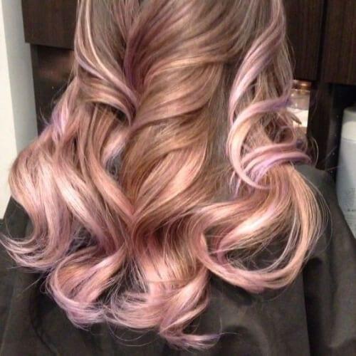 baby pink rose gold peekabo highlights