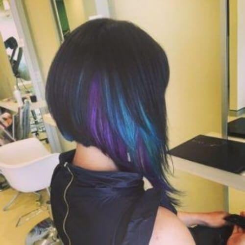 black purple turquoise peekaboo highlights