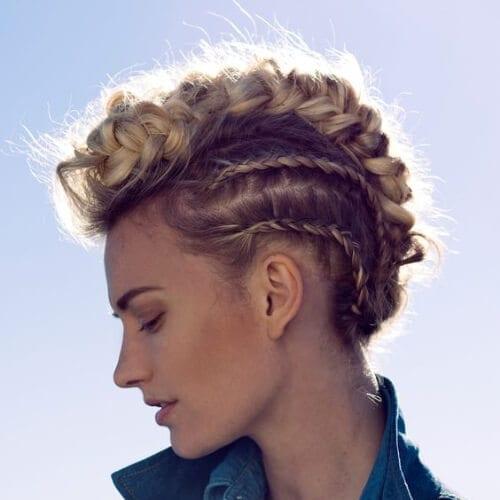 blonde braided mohawk