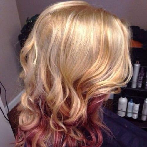blonde copper peekaboo highlights