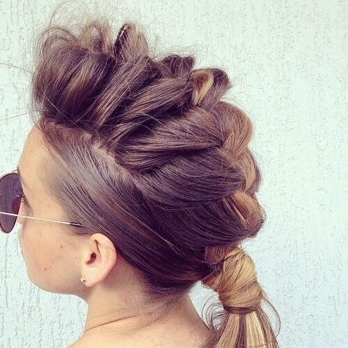 brown and blonde braided mohawk