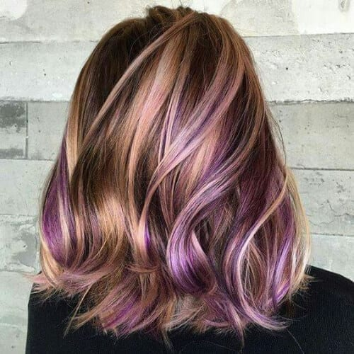brown purple peekabo highlights