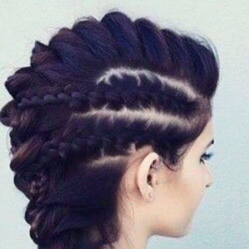 brunette braided mohawk