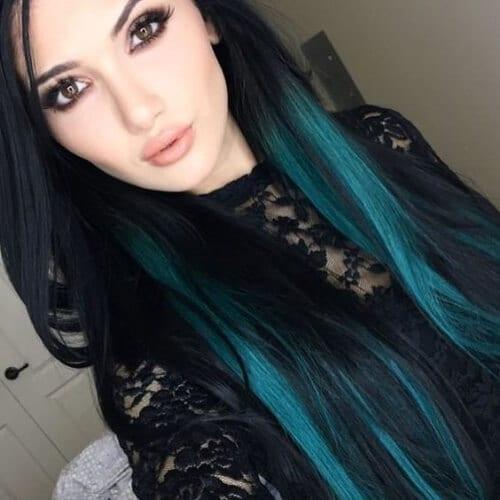 brunette turquoise peekaboo highlights