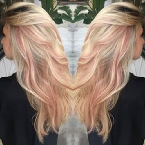 champagne blonde rose gold peekabo highlights