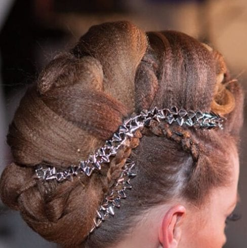 crimped, braided Mohawk