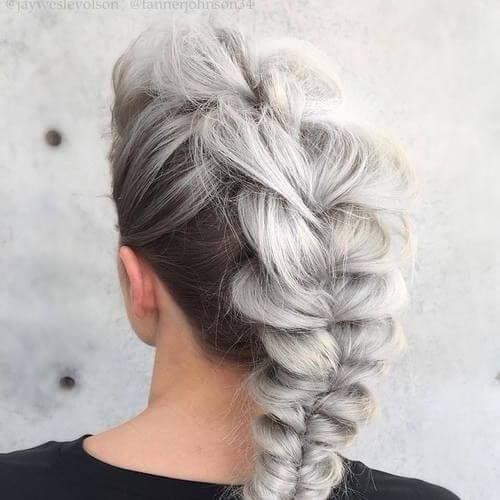 gray braided mohawk