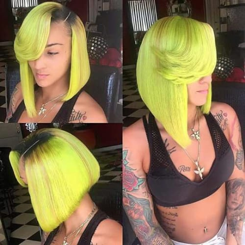 lime green bob hairstyles for black women