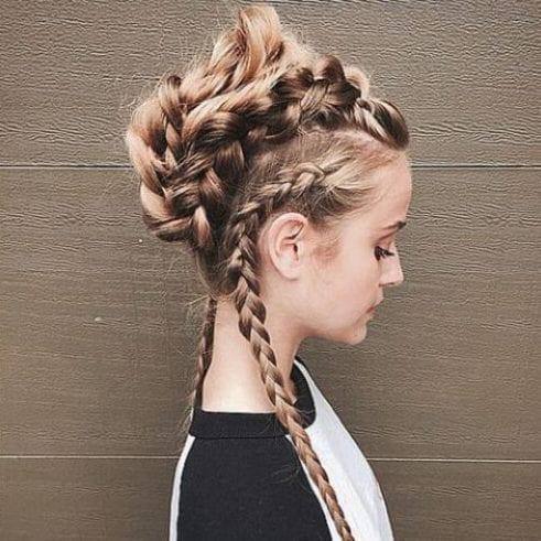 long hair braided mohawk