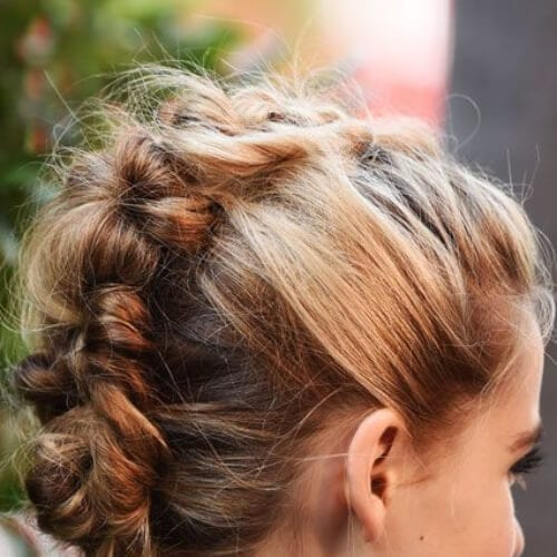 modern chignon braided mohawk